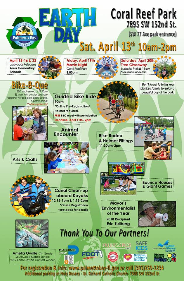 Flyer for Earth Day Celebration at Coral Reef Park.  7895 SW 152nd St.  Saturday April 13th from 10-2