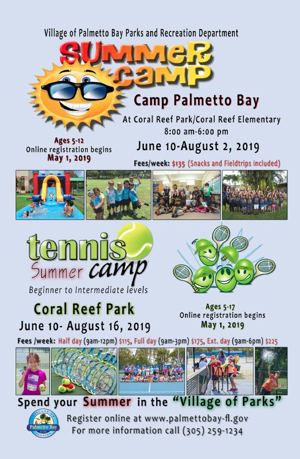 Summer camp registration form.  Regular camp is from June 10th through August 2nd.  Tennis camp is from June 10th until August 16th.  More information at palmettobay-fl.gov