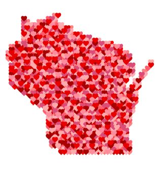 I Love Wisconsin. Red and Pink Hearts Pattern Map of Wisconsin Isolated on White Background.