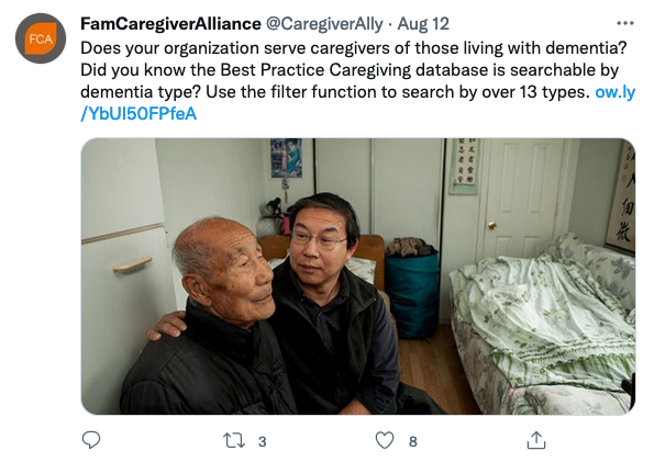 Image of @caregiverally tweet with showing male Asian-American caregiver sitting on side of bed with father. Click image to read tweet.