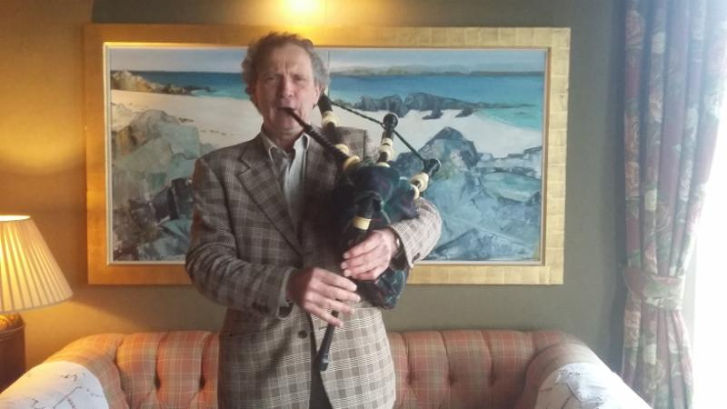 Photo of Martin with pipes at the Crinan Hotel