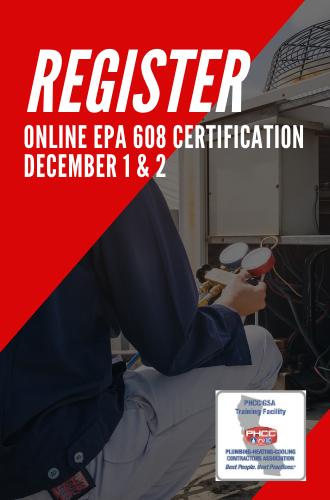 Register for the Online EPA 608 Certification - December 1 & 2