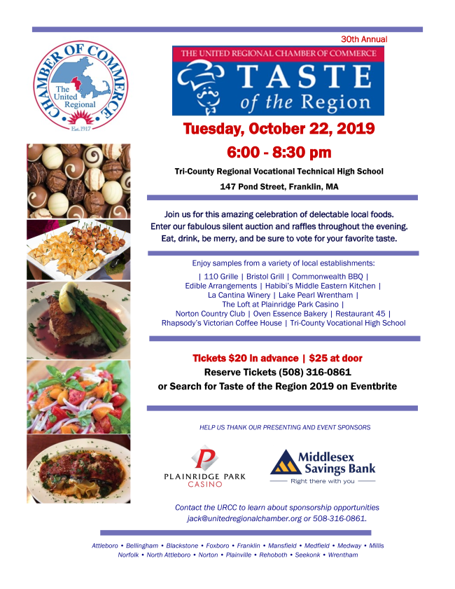 Be Prepared to Enjoy a 'Taste of the Region' - Oct 22
