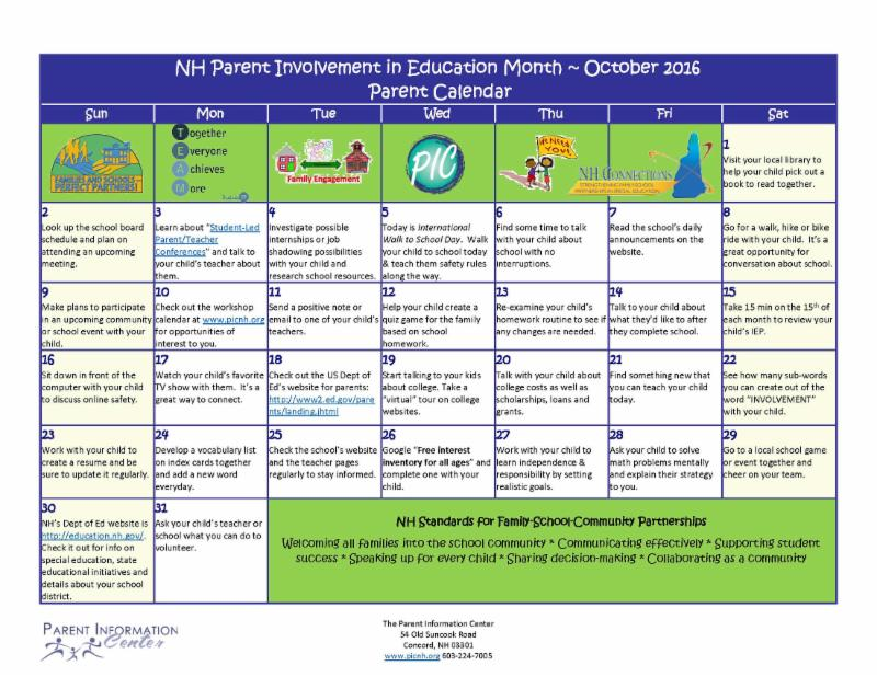 PI Month Parent Calendar