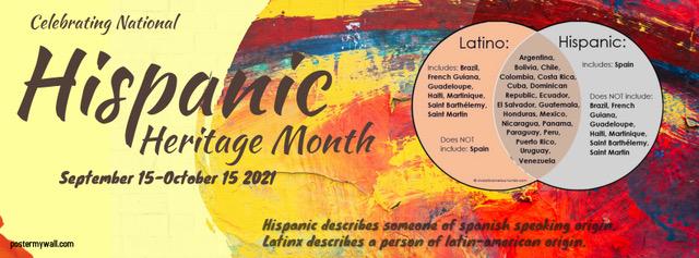 Celebrating National Hispanic Heritage Month. September 15-October 15 Hispanic describes someone of Spanish-speaking origin. Latinx describes a person of latin-american origin.