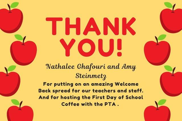 Thank you Nathalee Ghafouri and Amy Steinmetz for hosting the Parent and Teachers' Welcome Back Spreads