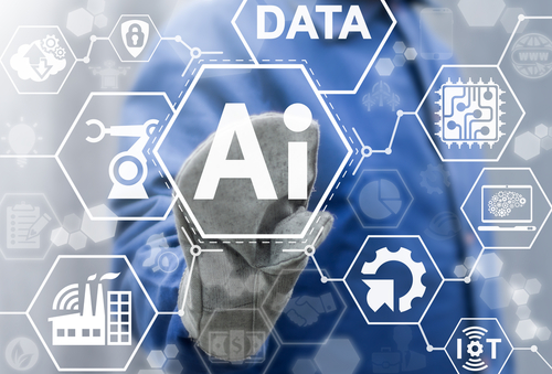 Artificial intelligence industry 4.0 integration iot industrial business web computing concept. AI factory manufacturing autonomous unmanned management process development engineering technology