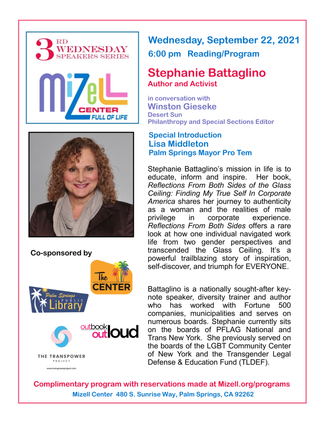 3rd Wednesday Speaker Series with Stephanie Battaglino, Author & Activist at The Mizell Center in Palm Springs