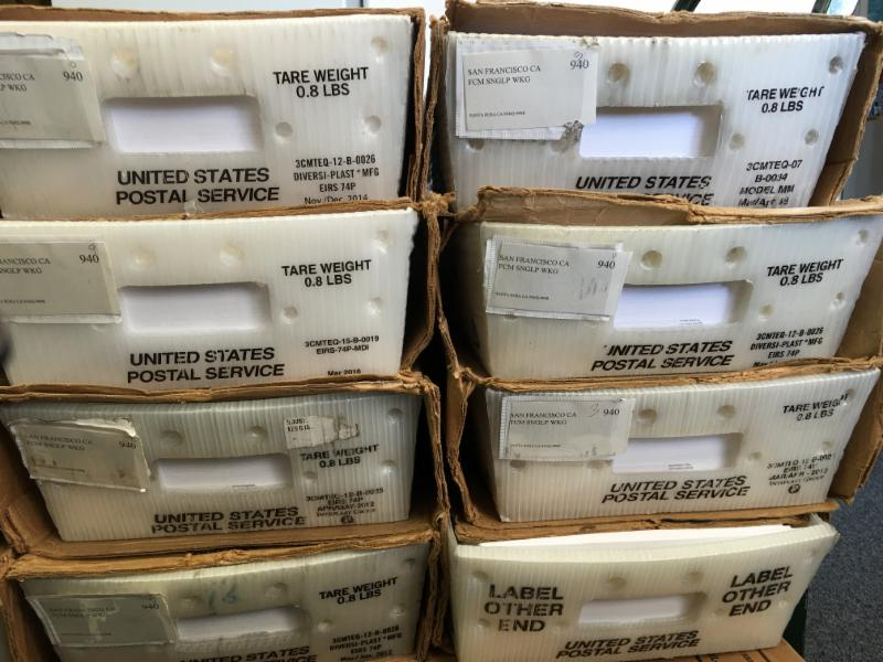 Report cards in boxes to go to post office