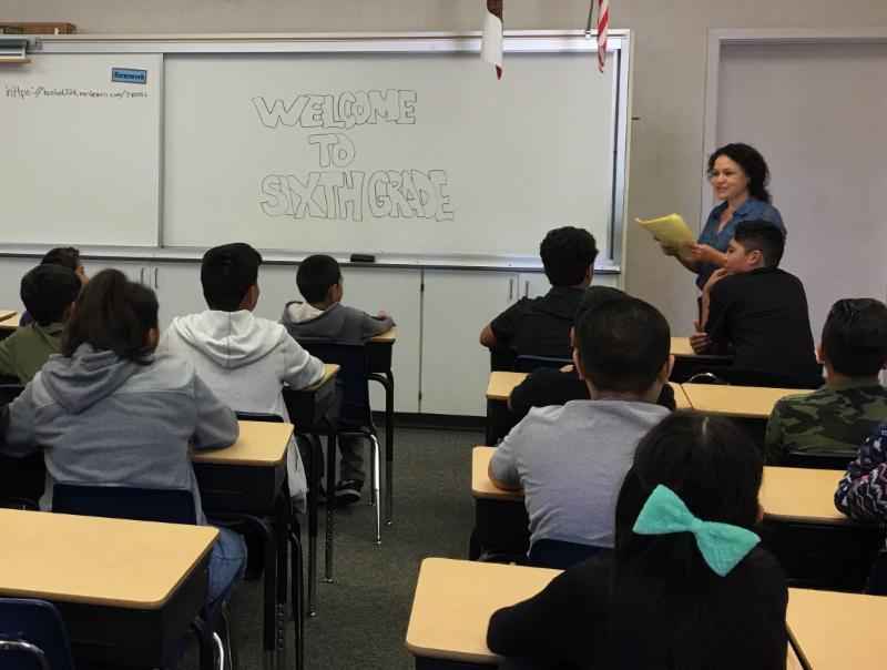 6th grade teacher and class