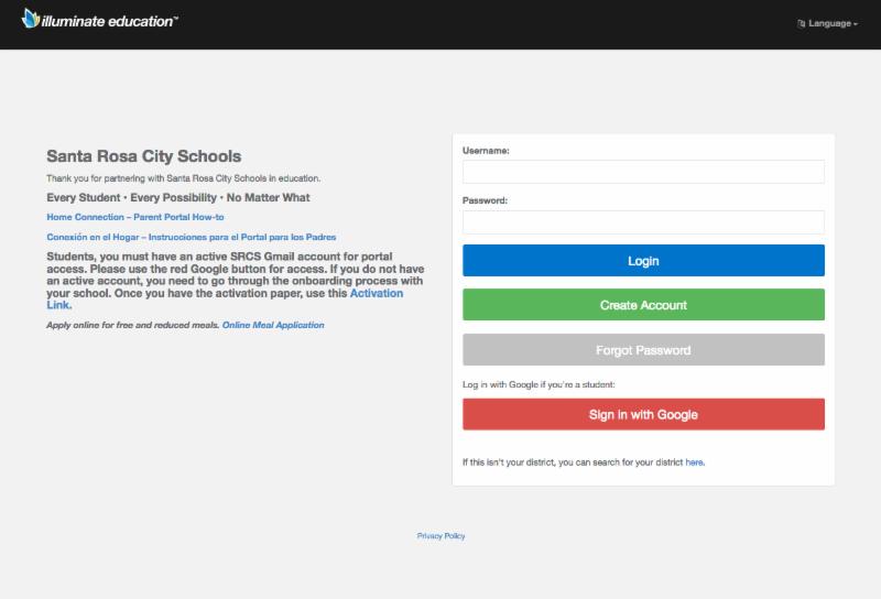 Illuminate Ed parent portal login page