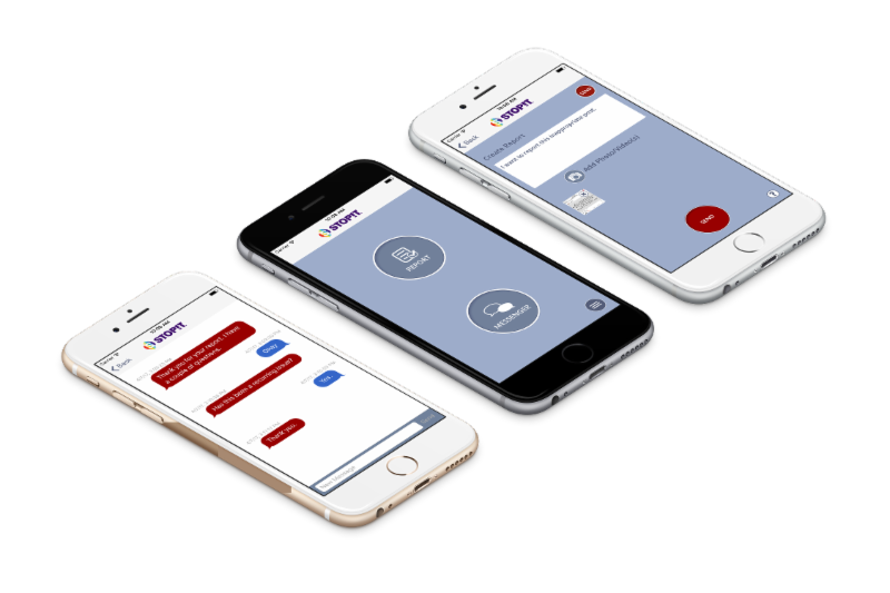 STOPit app on 3 phones