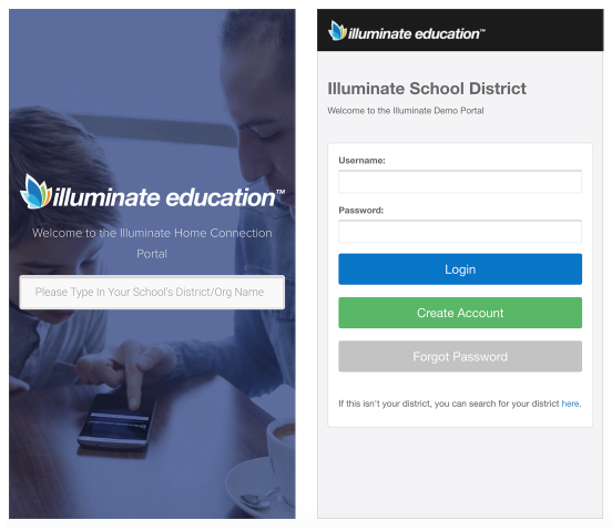 Illuminate Ed Home Connection Login page