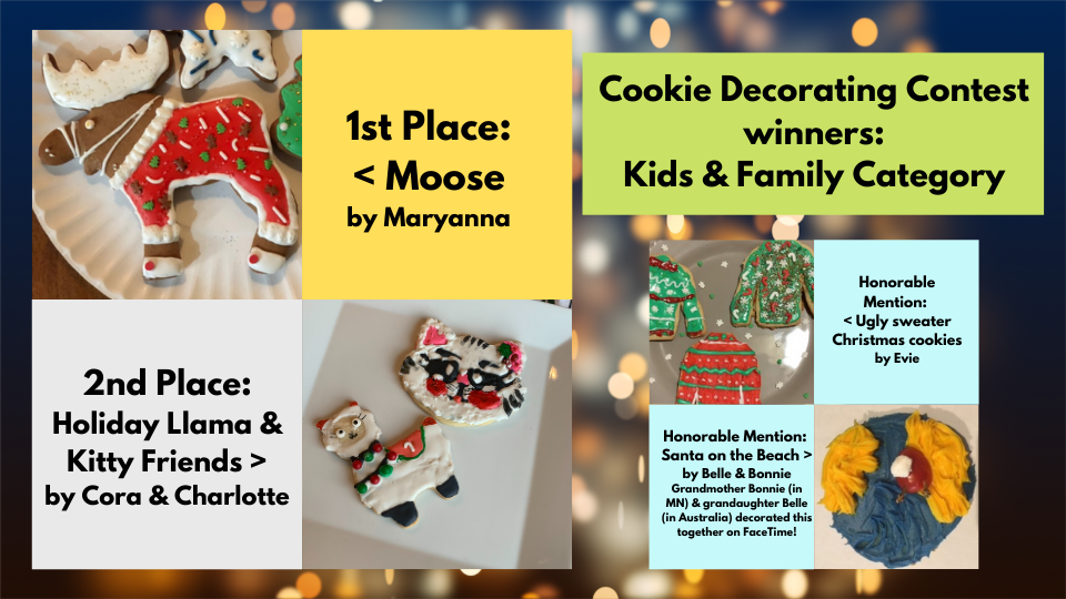 photo collage of winners in the library cookie decorating contest, kids and family category