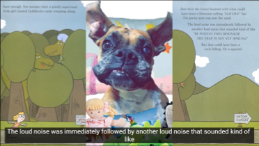 screen capture of dog and inside page of Goldilocks and the Three Dinosaurs