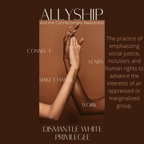 graphic with white and black hands intertwined and the words Allyship: dismantle white privilege