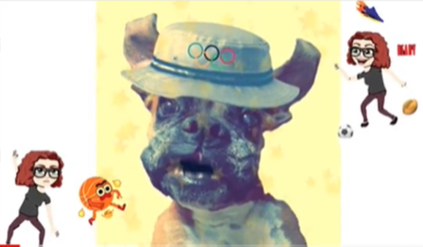 graphic of dog in silly hat and cartoons of silver medal sarah playing sports