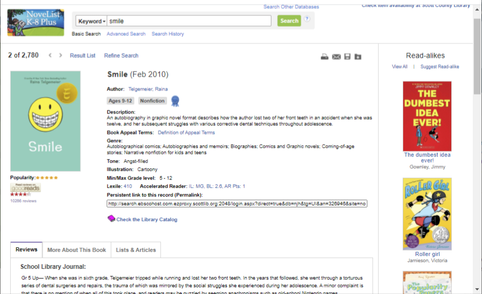 screenshot of NoveList K-8 page showing the book Smile and read-alikes