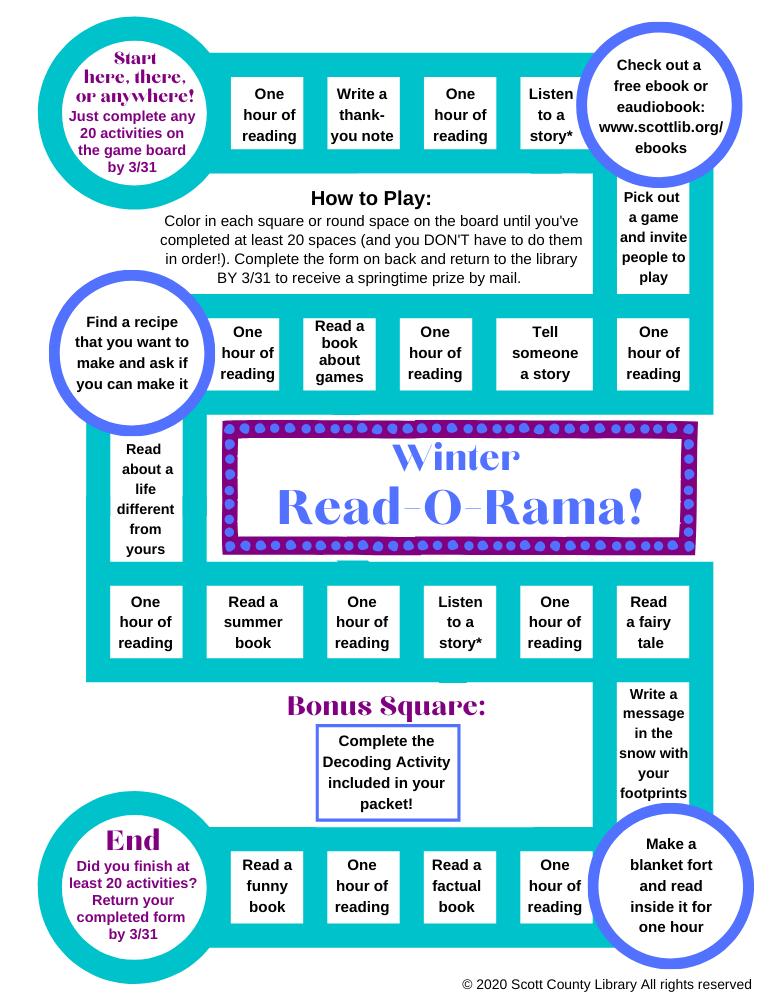 thumbnail of Winter Read-O-Rama elementary Winter Literacy gameboard