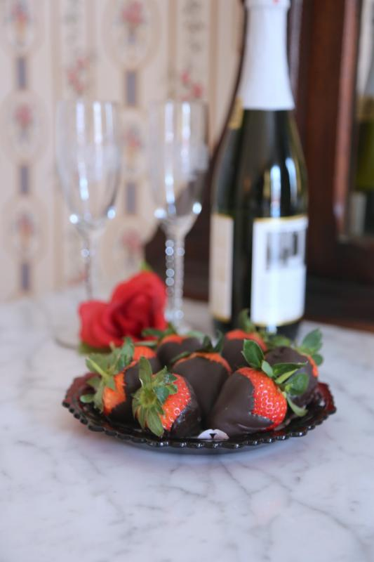 Chocolate dipped strawberries and sparkling  icider