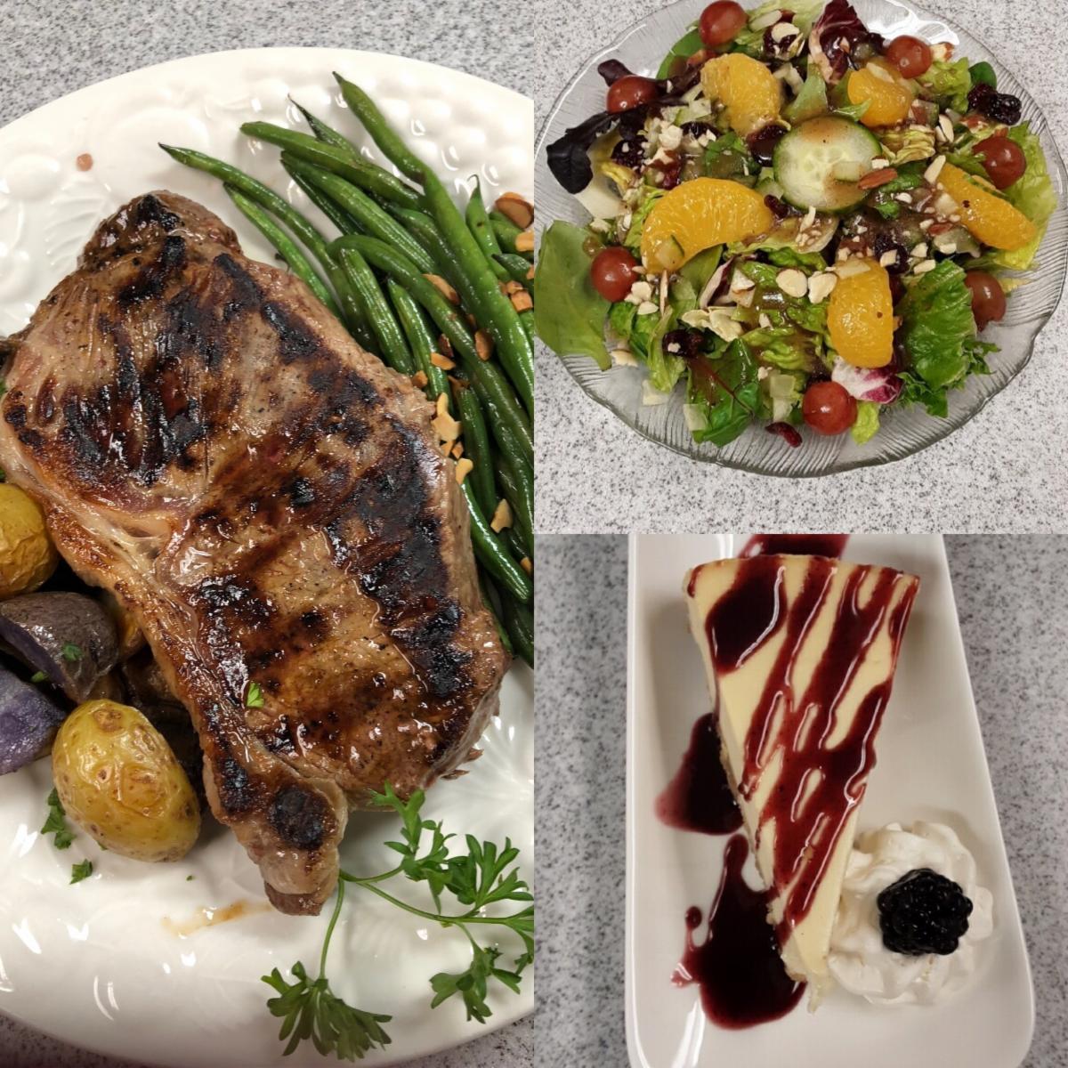 Sample dinner with NY strip steak
