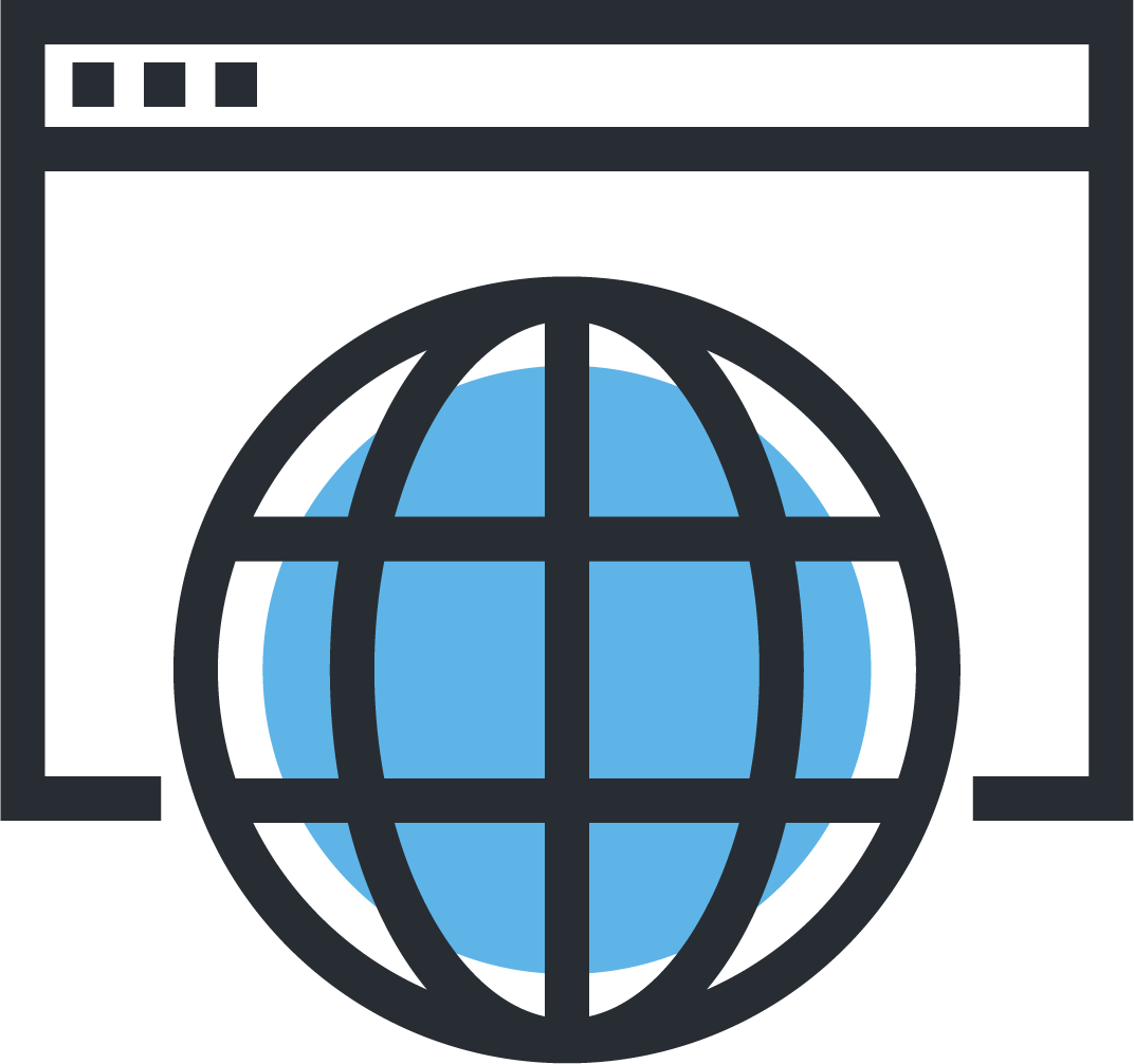 Webinar Icon with webpage and blue globe