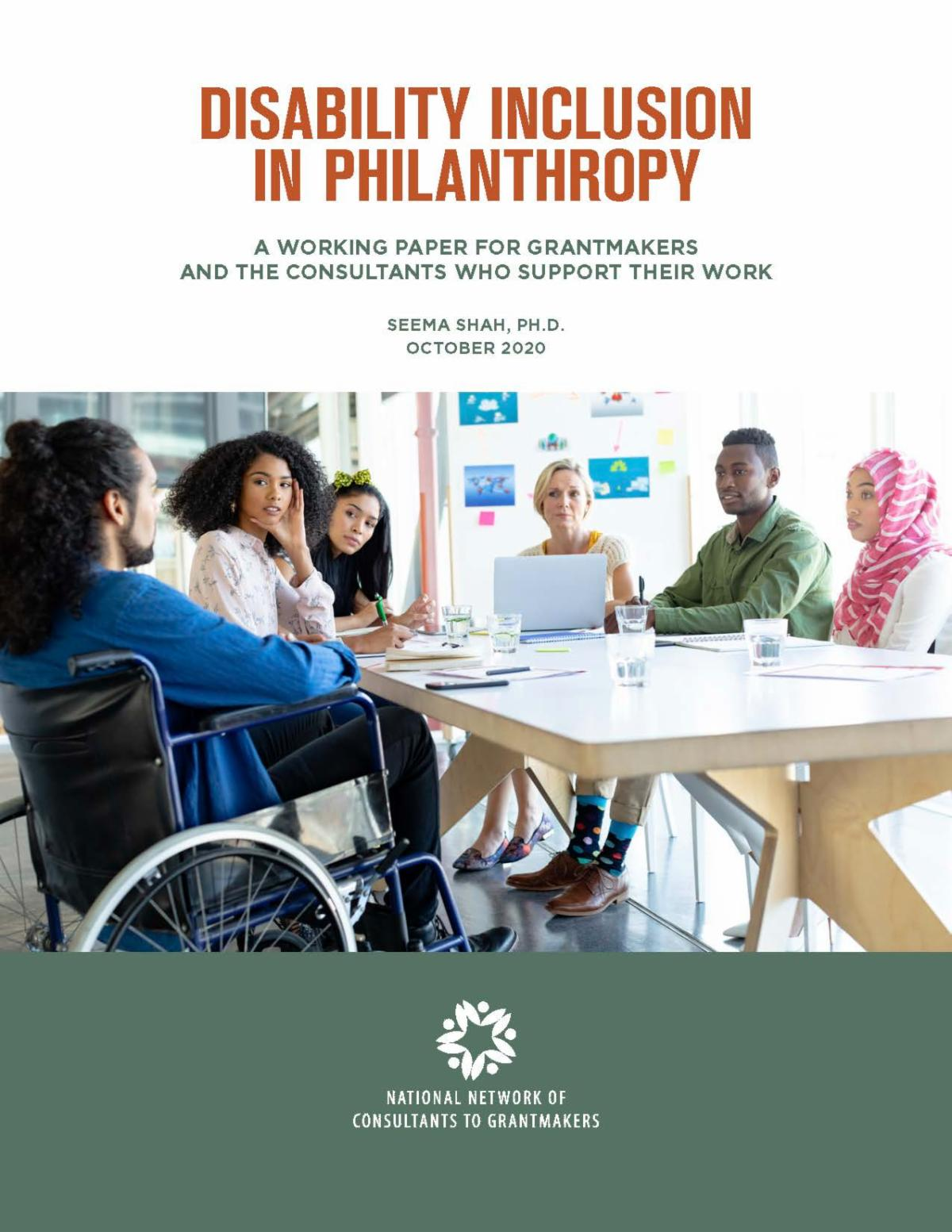 Cover of Disability Inclusion in Philanthropy working paper.