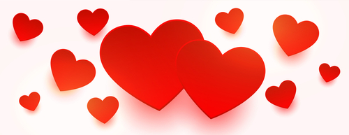Love red hearts floating on white banner design