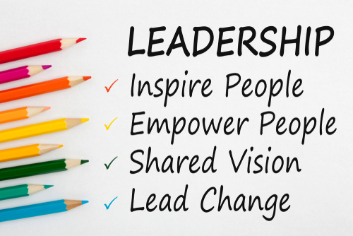 LEADERSHIP written on a white background and colour pencils. Business concept.Top view.