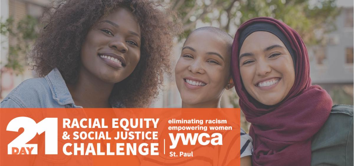 Three teen girls smiling and looking at camera. Racial Equity & Social Justice challenge logo in bottom-left corner.