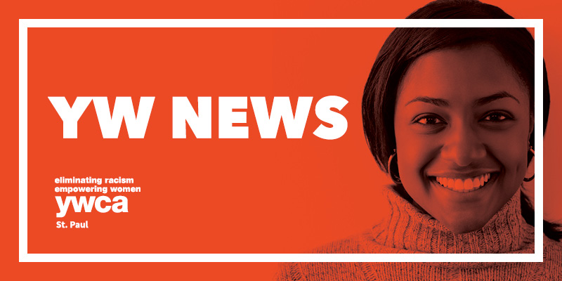 YW News text in white overlaid an orange-tinted portrait of a smiling African-American woman.