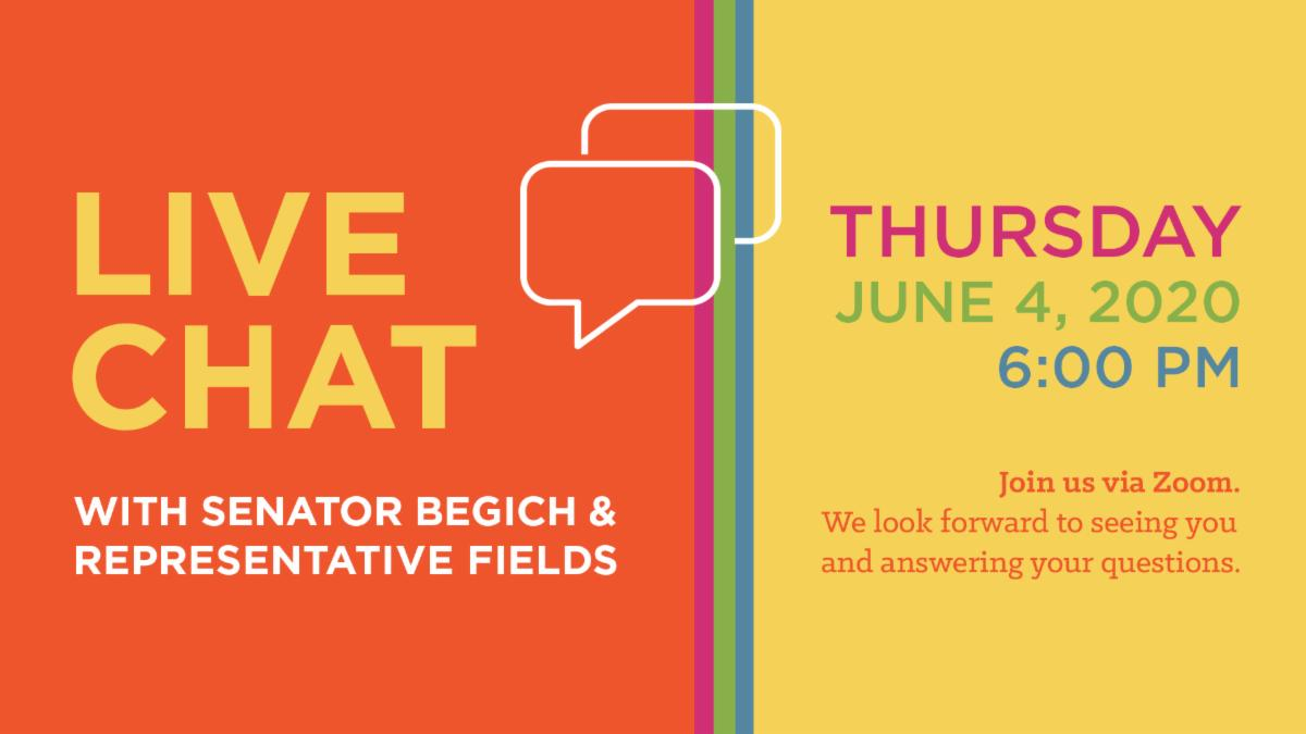 Graphic image that says Zoom Live Chat with your Legislators on Thursday, June 4th at 6 pm