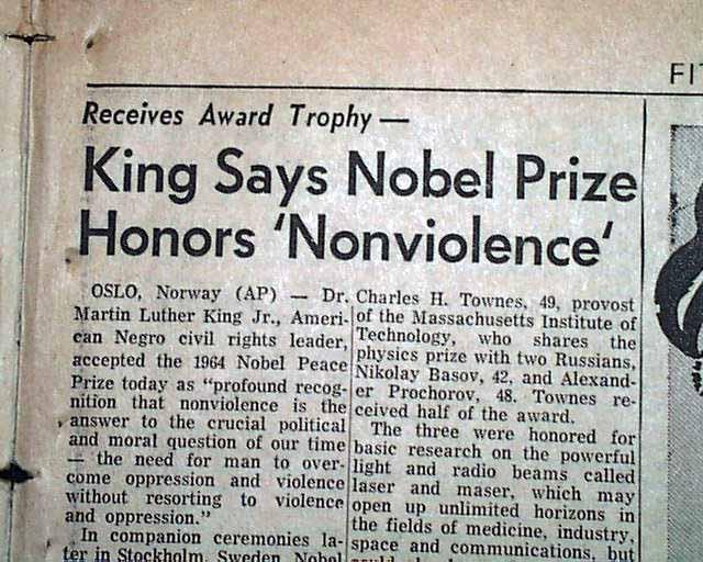 Image result for dr martin luther king nobel peace prize