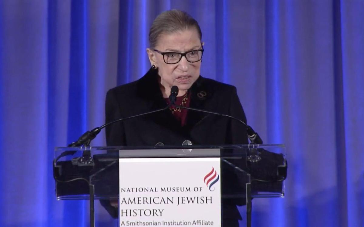 Justice Ginsburg speaking from lectern at NMAJH