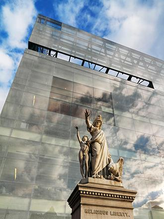 NMAJH facade with statue of Religious Liberty in front
