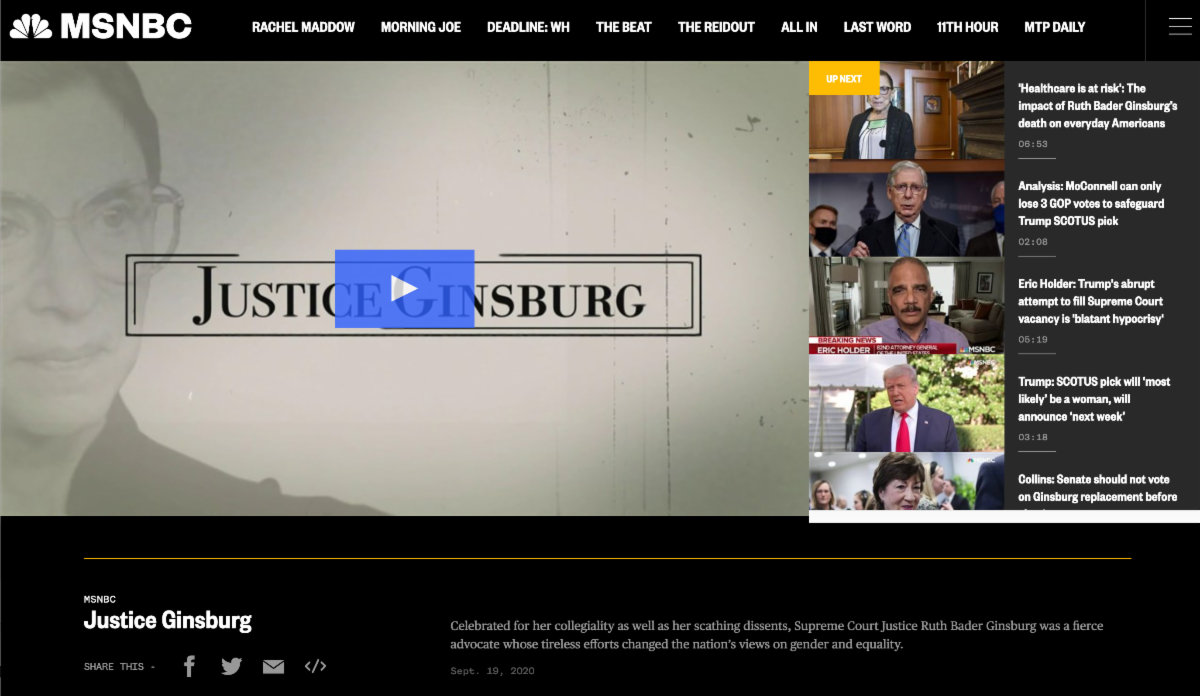 Screen capture of MSNBC webpage with Justice Ginsburg video