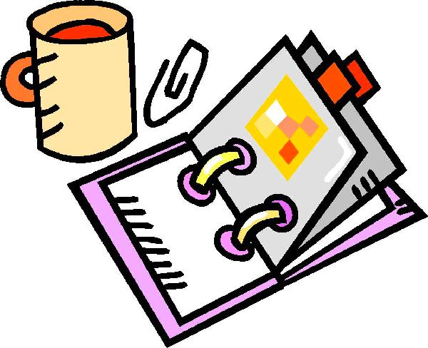 Planner with coffee