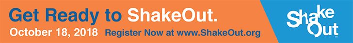 Get ready to ShakeOut. October 18, 2018. Register now at www.shakeout.org