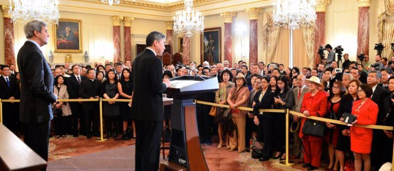 Amb Kim speaks to Guests