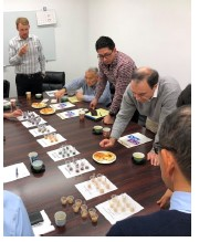 USDBC Japan trade mission participants sampling bean paste (photo courtesy of Nathan Sano)