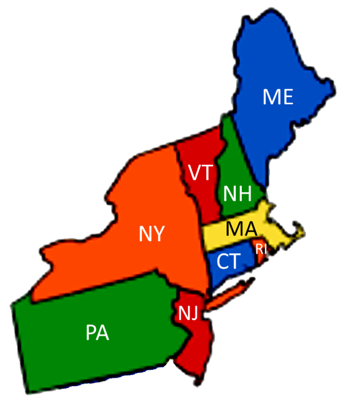 graphic map of northeast region