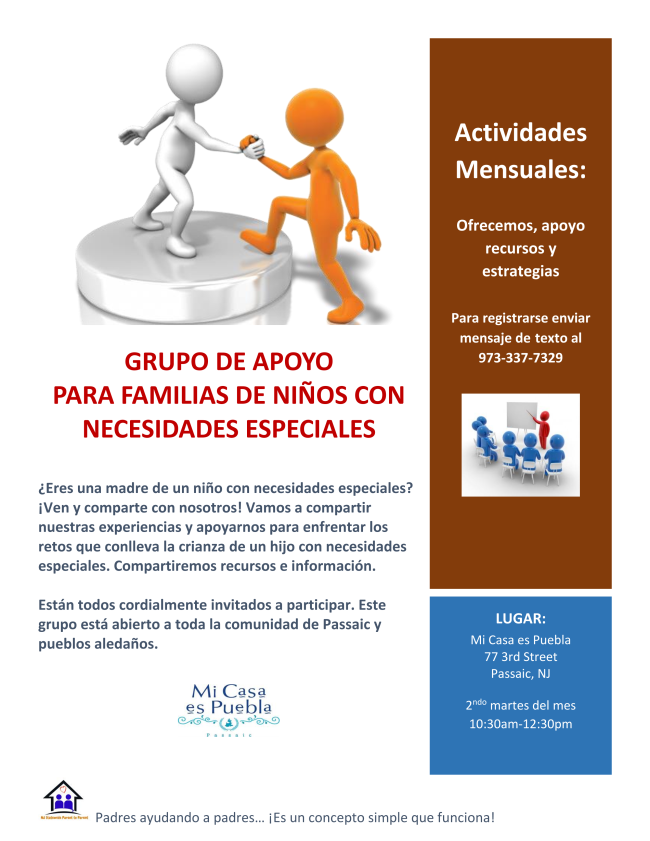 a photo of a group flyer in Spanish