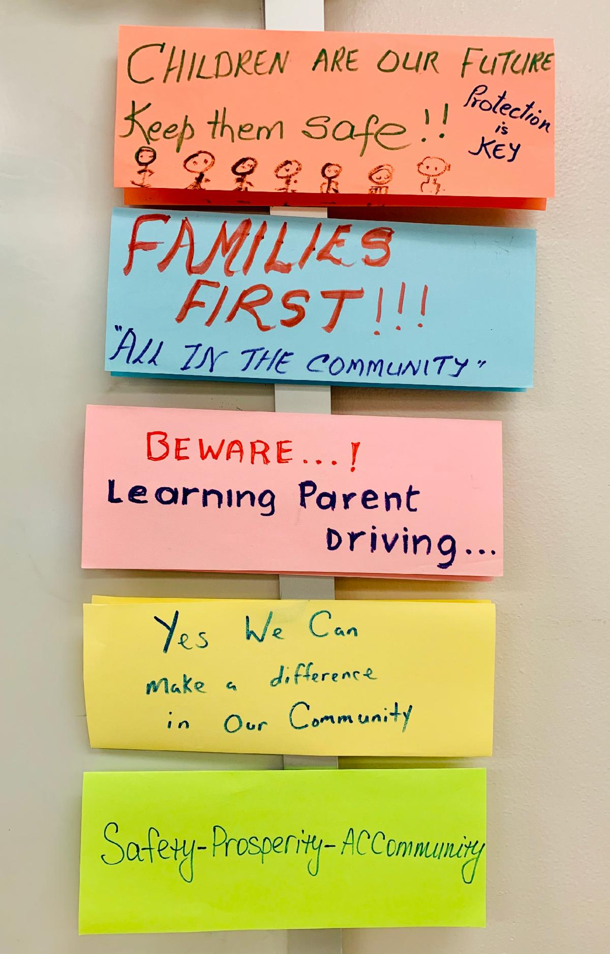 a picture of five slogans about children and families making a positive change and having a great future in their community