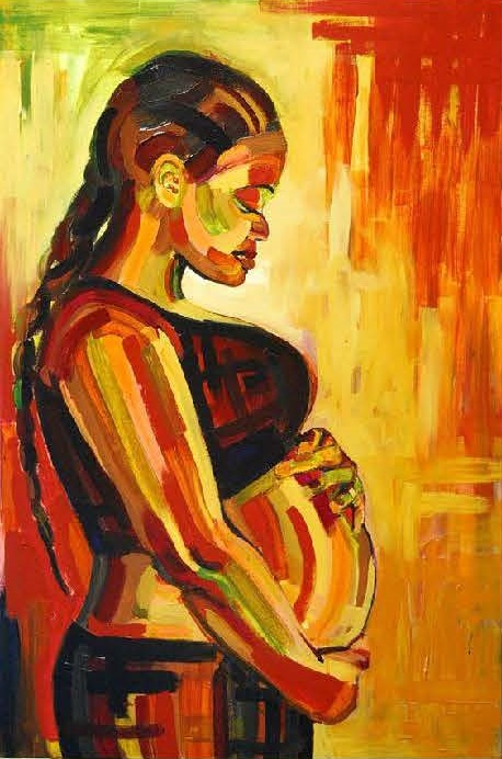 Painting of pregnant woman in profile holding her pregnant belly