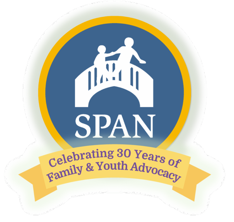 SPAN logo with ribbon stating Celebrating 30 Years of Family & Youth Advocacy