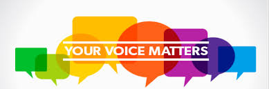 """Decorative image of colored word balloons with a title """"Your Voice Matter"""" across the image"""