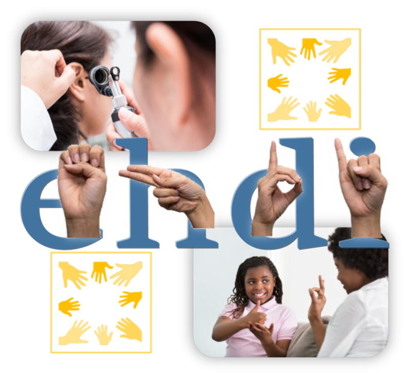 Multi-image graphic with top left picture of doctor examining young patient's ears, two vector graphics of hands, lower right picture of young girl signing with an adult, and middle image of ASL finger spelling: AHDI with the Roman letters AHDI behind it.