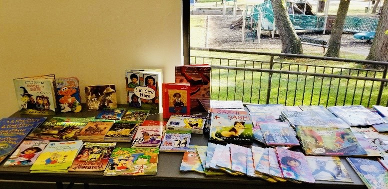 a photo of a book display