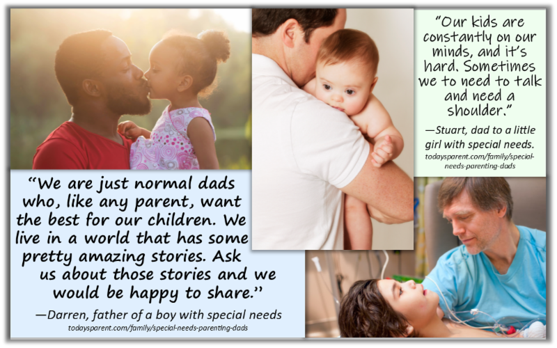 From left: father and small daughter in profile kissing, middle: father from back holding baby with down syndrome, right: father in hospital holding son with tubes having a procedure.