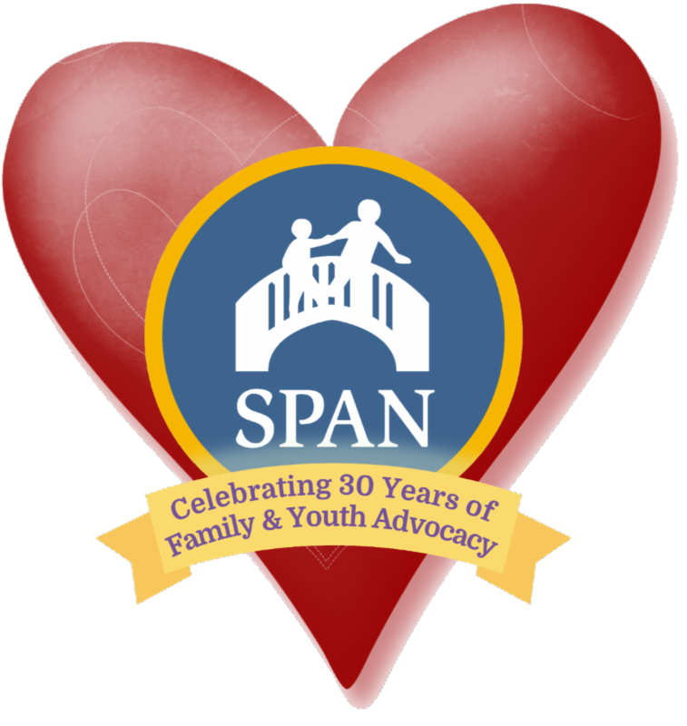 span 30 years logo superimposed on a valentine_s heart